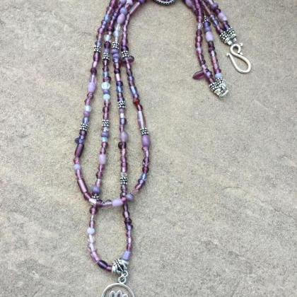 Double strand Purple mix glass bead..