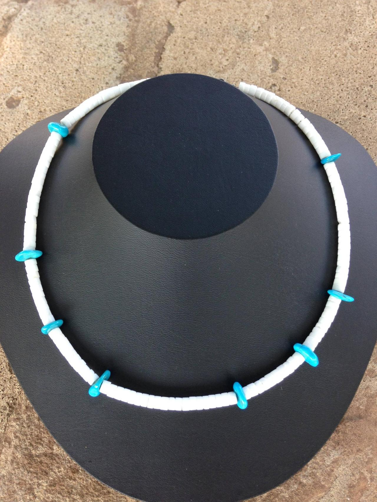 19in Heishi Shell and turquoise necklace/Turquoise jewelry/Heishi jewelry/Southwest jewelry/Southwest Collection