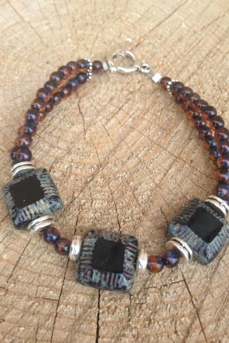 Brown Czech Glass Beaded Bracelet