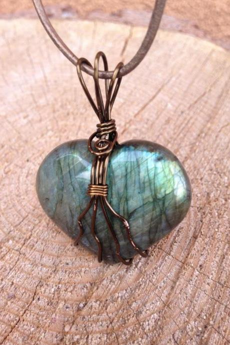 Wire wrapped Labradorite Heart Pendant