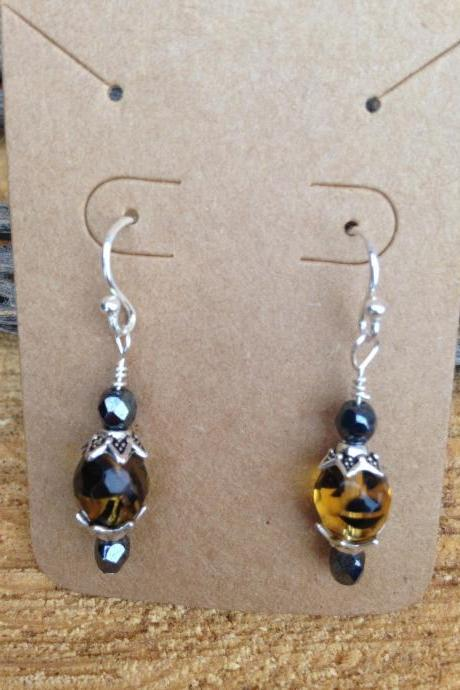 Amber Fire polished Czech Glass Bead Dangle/Drop Earrings