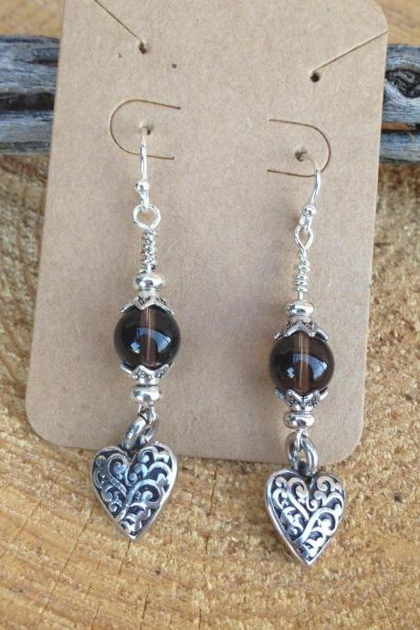 Smoky Quartz and Silver Heart Drop Earrings