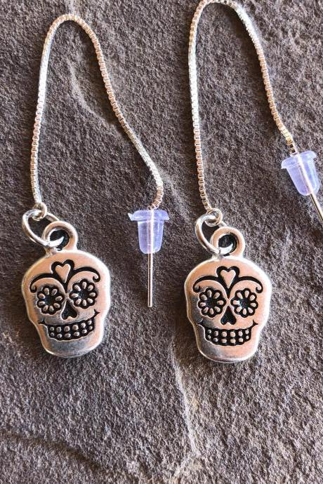 Silver plated Sugar Skull/ Calavera threader earrings Dia De Los Muertos