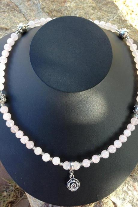 Rose quartz beads and sterling silver bead necklace