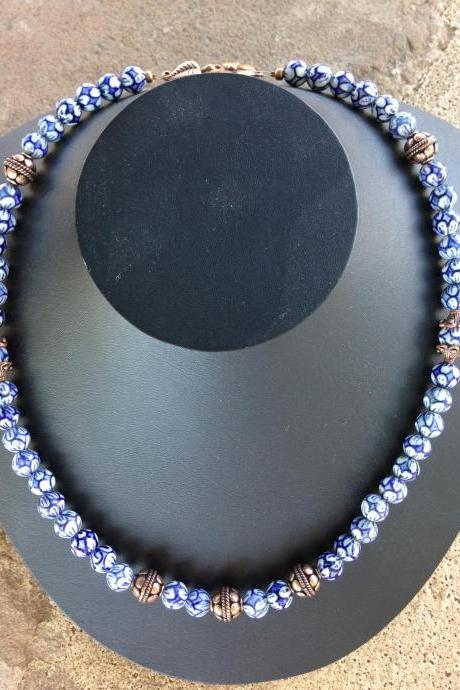 Chinese porcelain beaded necklace/ Copper Necklace
