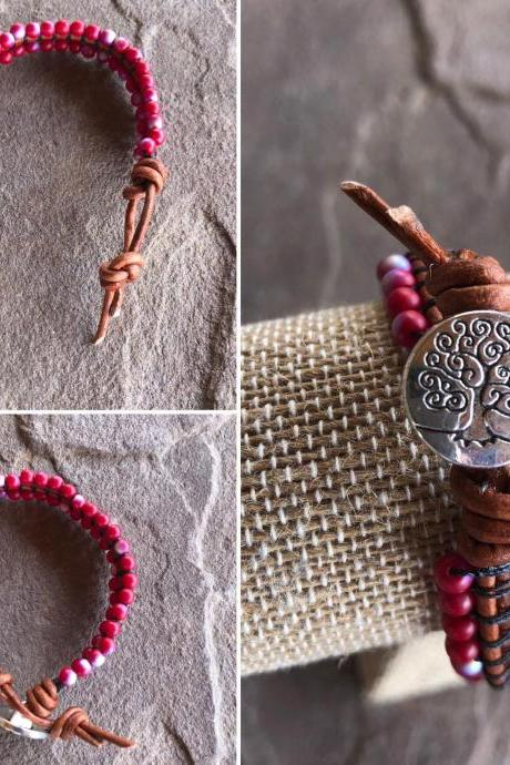 Handmade macrame leather beaded tree of life bracelet