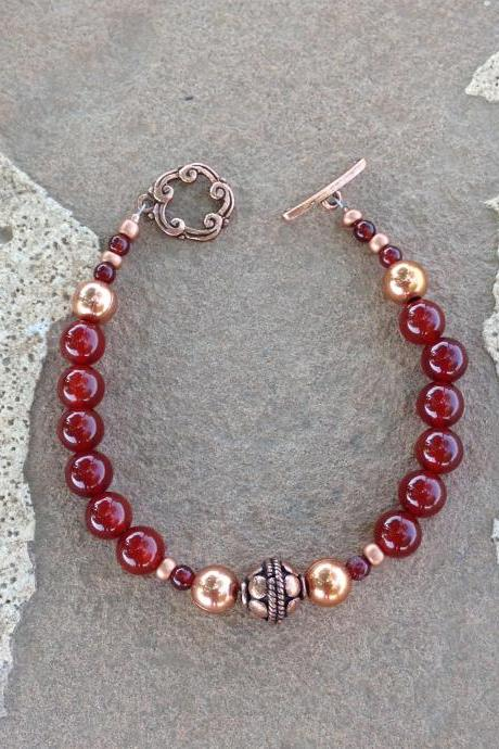 8' Carnelian and Copper beaded bracelet/ Carnelian bracelet/ Copper bracelet/ Carnelian Jewelry/ Copper Jewelry/ Boho jewelry