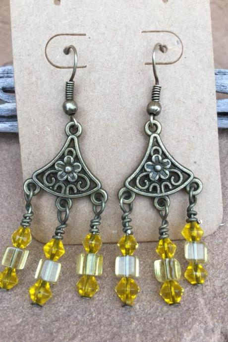 Antique Brass Chandelier yellow glass bead earrings