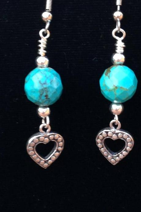 1 1/2' drop dangle turquoise and sterling silver heart earrings