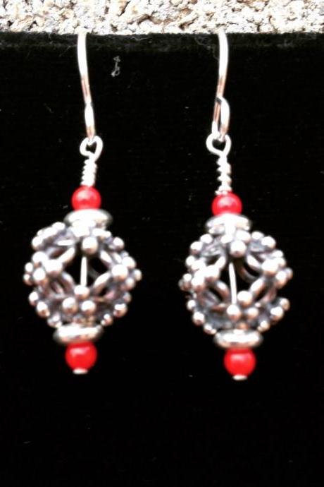 1' silver and coral beaded drop heart earrings
