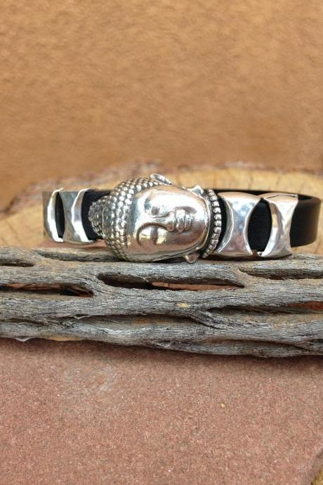 unisex 10mm leather bracelet and Budhha magnetic clasp