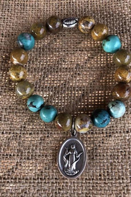 Immaculate Mary beaded turquoise and jasper beaded bracelet