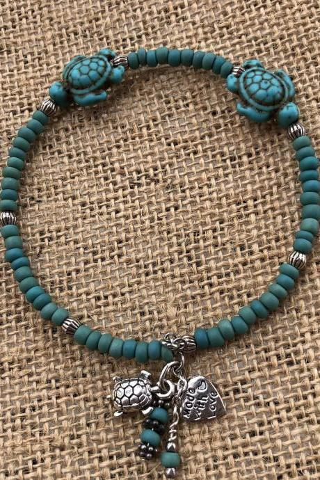 Turquoise colored Howlite turtle bangle beaded bracelet