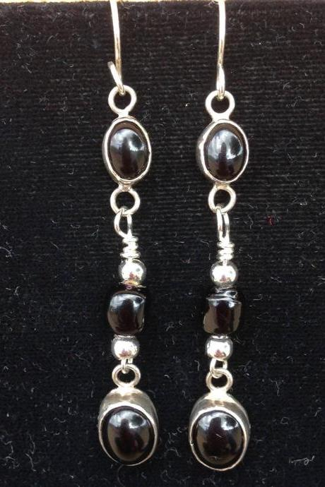 Handcrafted jewelry/Handcrafted earrings/ 2 1/2' long Onyx cabochon drop earrings