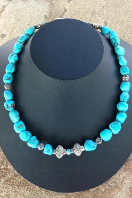 19' Turquoise and Silver Necklace with Silver Toggle closure/turquoise necklace/turquoise jewelry