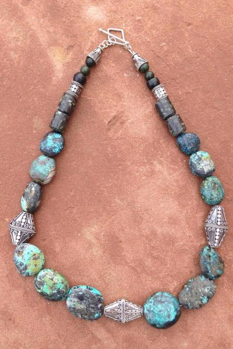 22' Chunky Turquoise and Silver necklace/ Statement necklace/turquoise statement necklace