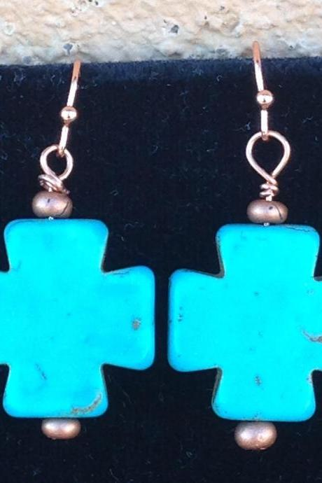 Turquoise howlite cross on copper ear wires, or silver ear wires/copper earrings/southwest collection/southwest jewelry