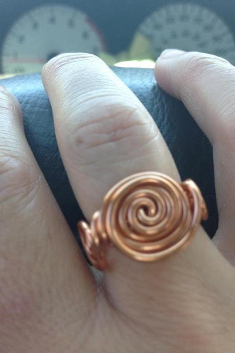 Copper wire spiral wire wrap ring