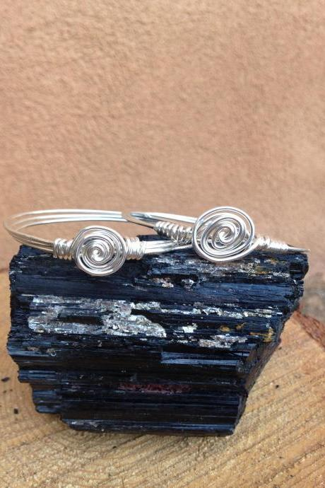 Silver wire wrapped rosette bangle bracelets