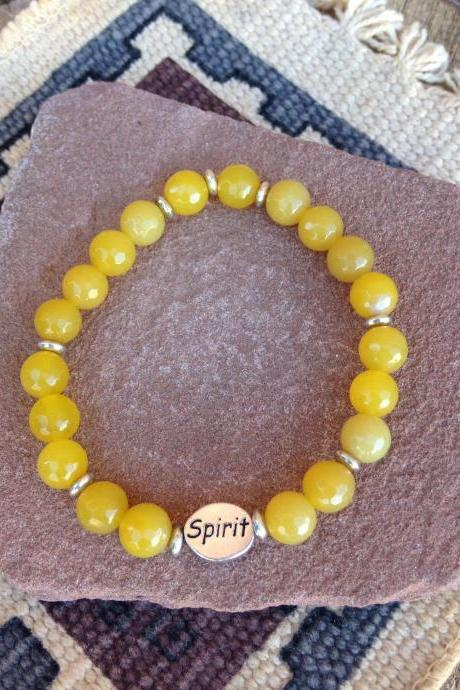 Yellow agate stretch bracelet/ Solar Plexus stretch bracelet