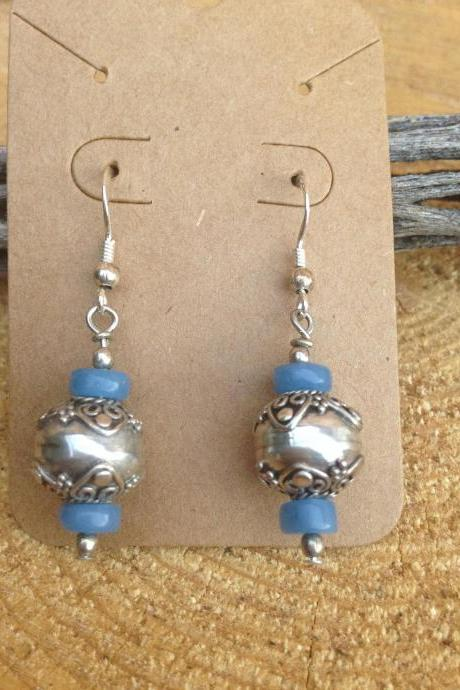 Silver drop dangle earrings