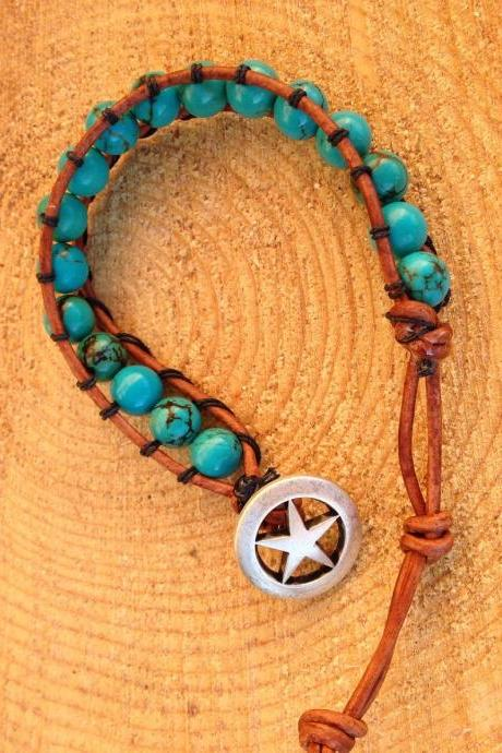 Single wrap turquoise bead bracelet