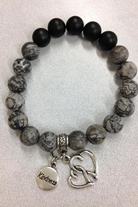Gray crazy lace agate bead stretch cord bracelet