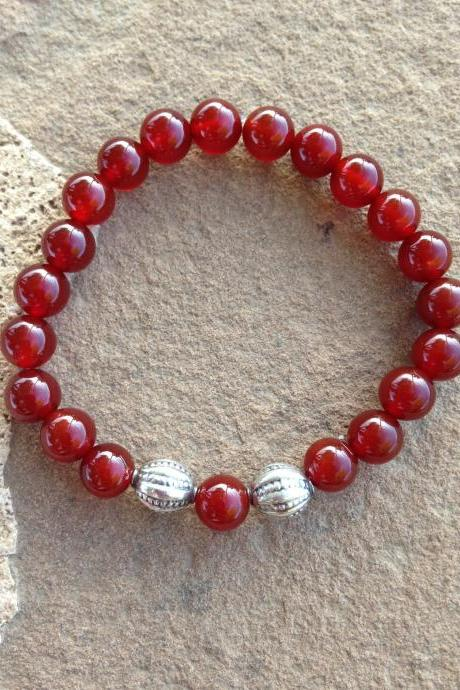 Carnelian stretch cord beaded bracelet
