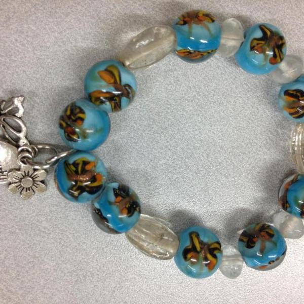 Glass lamp work beaded stretch bracelet